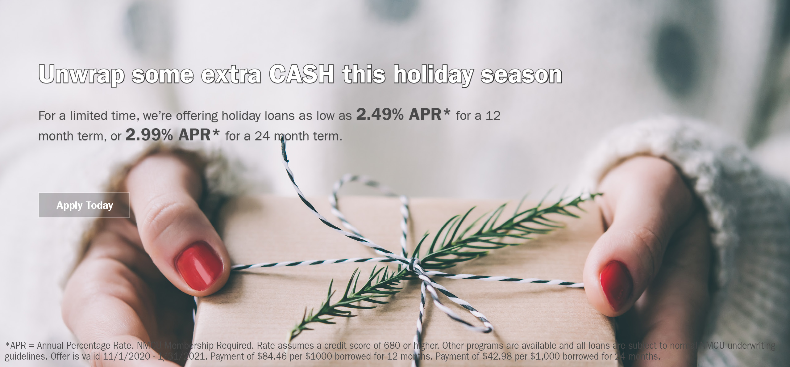 Holiday loans asl low as 2.49% APR for 12 Months  or 2.99% APR for 24 Months
